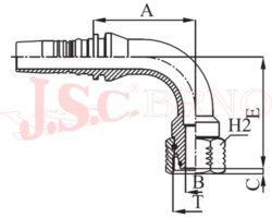I-DKOS90 koncovka úhlová INTERLOCK s převlečnou maticí, kužel 24°, těžká řada