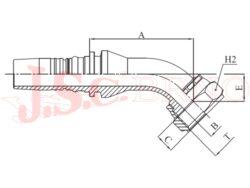 I-ORFS45 koncovka úhlová INTERLOCK, převlečná matice, UNF závit, rovné čelo