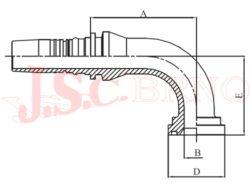 I-SFL90 koncovka úhlová INTERLOCK přírubová, 3000PSI, lehká řada