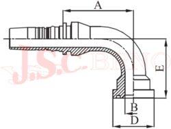 I-SFS90 koncovka úhlová INTERLOCK přírubová, 6000PSI, těžká řada